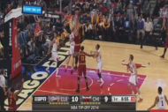 Kevin Love Gets Blocked by Joakim Noah and Pau Gas…