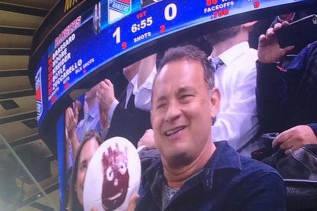 Tom Hanks Reunites with Wilson at New York Rangers Game