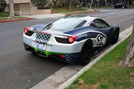 Seattle Superfan Drives Customized Seahawks Ferrari  Italia - Custom football car magnets