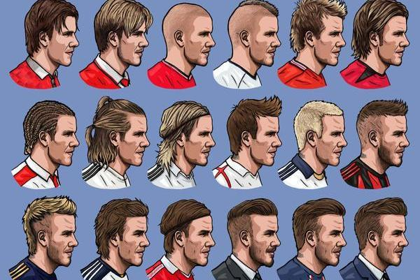Illustrator Documents The History Of David Beckhams Hair In Cool - Beckham's hairstyle history