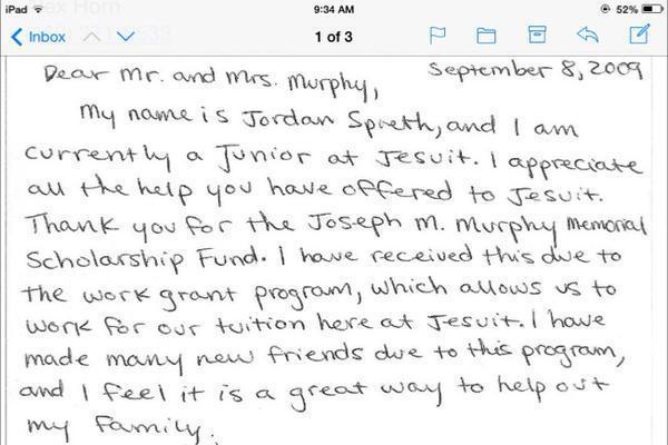 Jordan Spieth Sent Handwritten Letter of Thanks After Receiving HS – Scholarship Thank You Letter