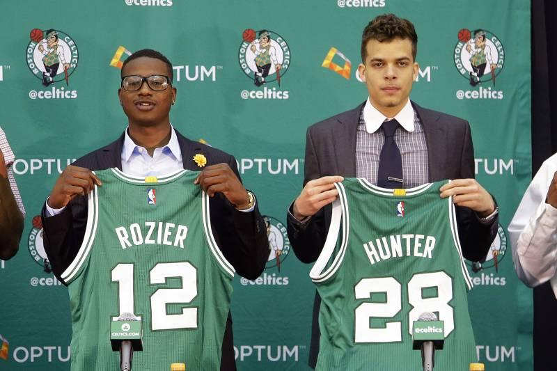 Boston Celtics draft picks Jordan Mickey, from left, Terry Rozier, R.J.  Hunter and