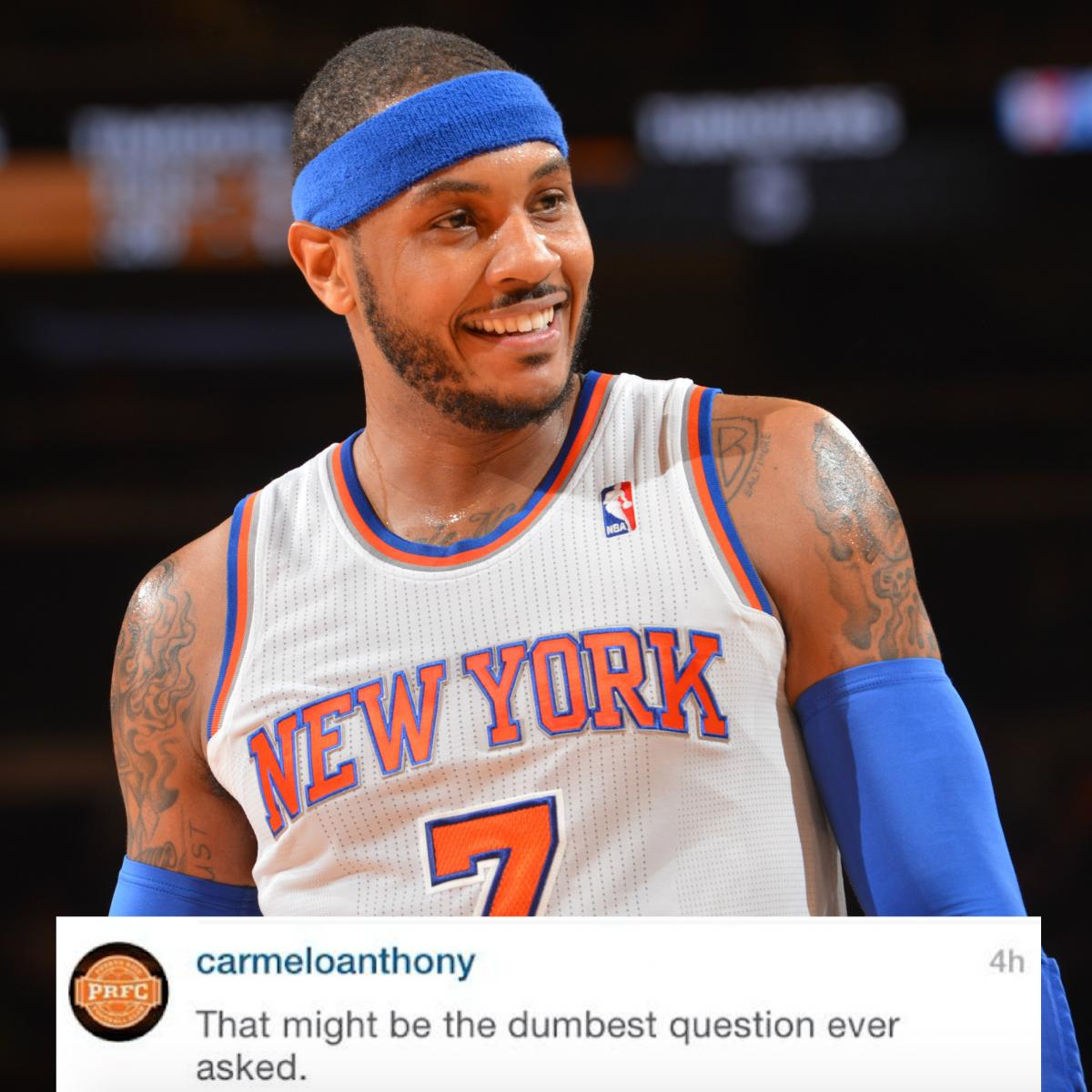 Carmelo Anthony Rips Fan on Instagram for Questioning His ...