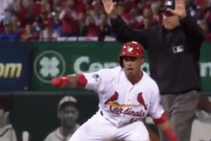 kolten wong hits the whip after doubling against the cubs. Black Bedroom Furniture Sets. Home Design Ideas