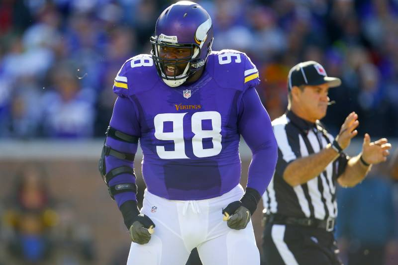 ... Minnesota Vikings defensive tackle Linval Joseph (98) celebrates after  making a stop against the ... cc0f7811a
