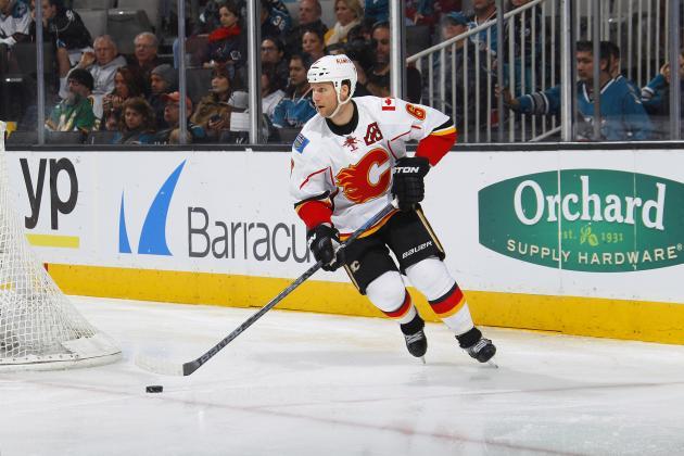 Flames' Dennis Wideman Cross-Checks Linesman vs. Predators