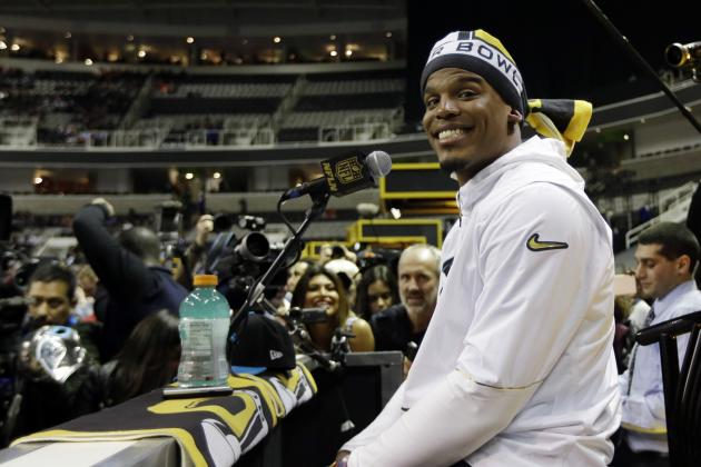 Cam Newton Comments on Celebrations, Son and More at Super Bowl 50 Opening Night
