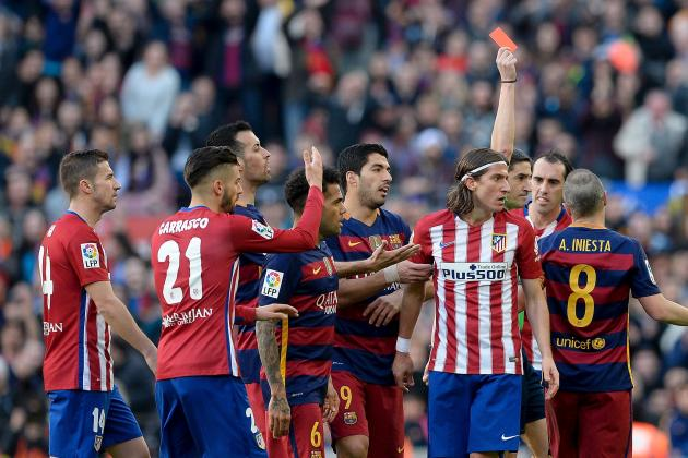 Filipe Luis Given 3-Match Ban After Receiving Red Card for Lionel Messi Tackle