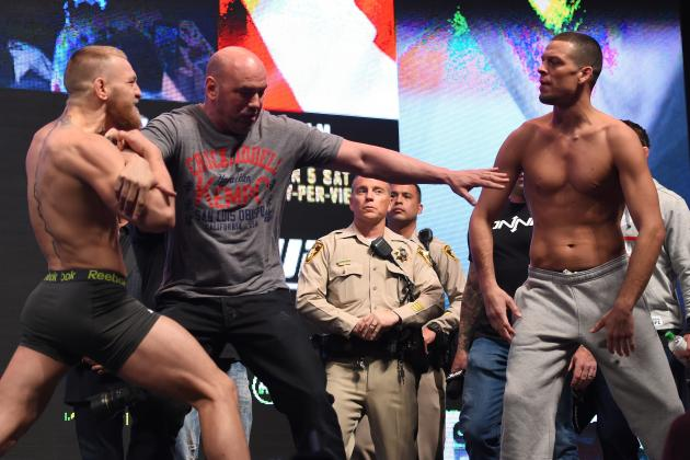 Nate Diaz Gets Better of Conor McGregor at Weigh-Ins by Making McGregor Flinch