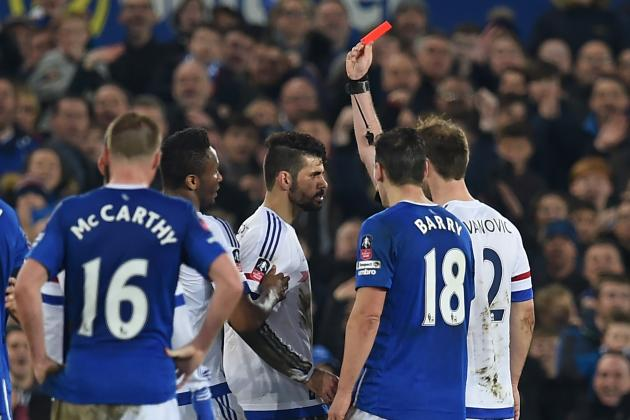 Diego Costa Receives Red Card vs. Everton After Appearing to Bite Gareth Barry