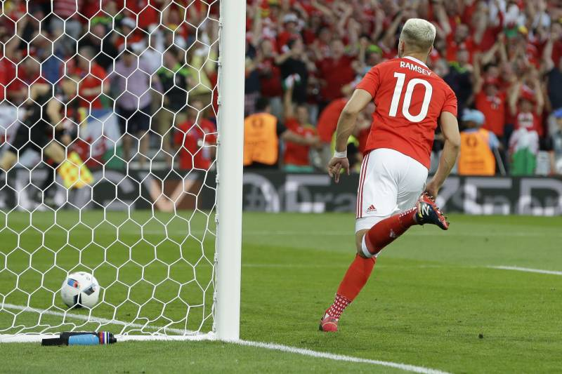 Wales S Aaron Ramsey Celebrates Scoring The Opening Goal During Euro 2016 Group B Soccer Match