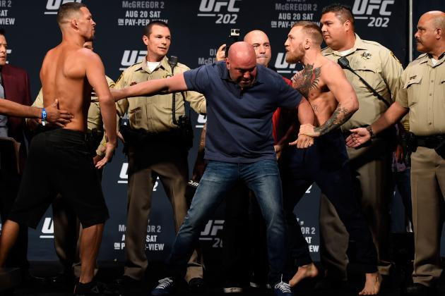UFC 202 Weigh-Ins: Cops Brought in to Keep Peace, McGregor and Diaz Separated