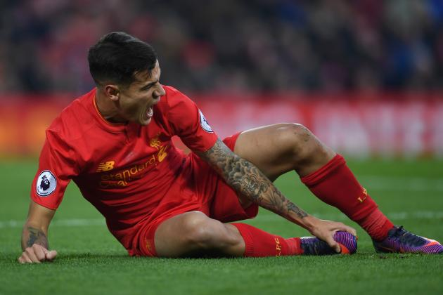 Philippe Coutinho Injury: Liverpool Star Ruled Out 5-6 Weeks with Ankle Injury