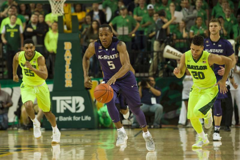 Kansas state vs baylor score and reaction from 2017 regular season waco tx february 4 barry brown 5 of the kansas state wildcats publicscrutiny Images