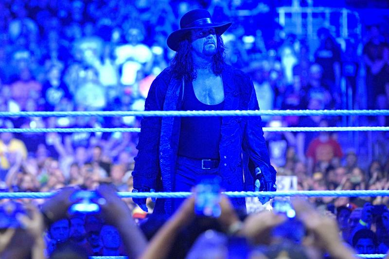 IMAGE DISTRIBUTED FOR WWE - Undertaker gazes at the crowd after what could be his final WrestleMania match on Sunday, April 2, 2017, in Orlando, Fla. (Phelan M. Ebenhack/AP Images for WWE)