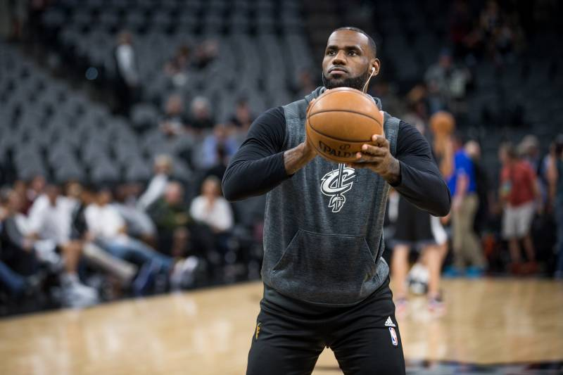 SAN ANTONIO, TX - MARCH 27:  LeBron James #23 of the Cleveland Cavaliers warms up before the game between the Cleveland Cavaliers and the San Antonio Spurs on March 27, 2017 at the AT&T Center in San Antonio, Texas. NOTE TO USER: User expressly acknowledges and agrees that, by downloading and or using this photograph, user is consenting to the terms and conditions of the Getty Images License Agreement. Mandatory Copyright Notice: Copyright 2017 NBAE (Photos by Darren Carroll/NBAE via Getty Images)