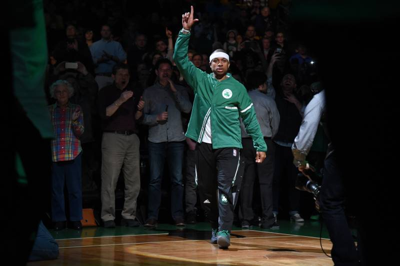 BOSTON, MA - MARCH 22: Isaiah Thomas #4 of the Boston Celtics gets introduced in the starting line up before the game against the Indiana Pacers on March 22, 2017 at the TD Garden in Boston, Massachusetts.  NOTE TO USER: User expressly acknowledges and agrees that, by downloading and or using this photograph, User is consenting to the terms and conditions of the Getty Images License Agreement. Mandatory Copyright Notice: Copyright 2017 NBAE  (Photo by Brian Babineau/NBAE via Getty Images)