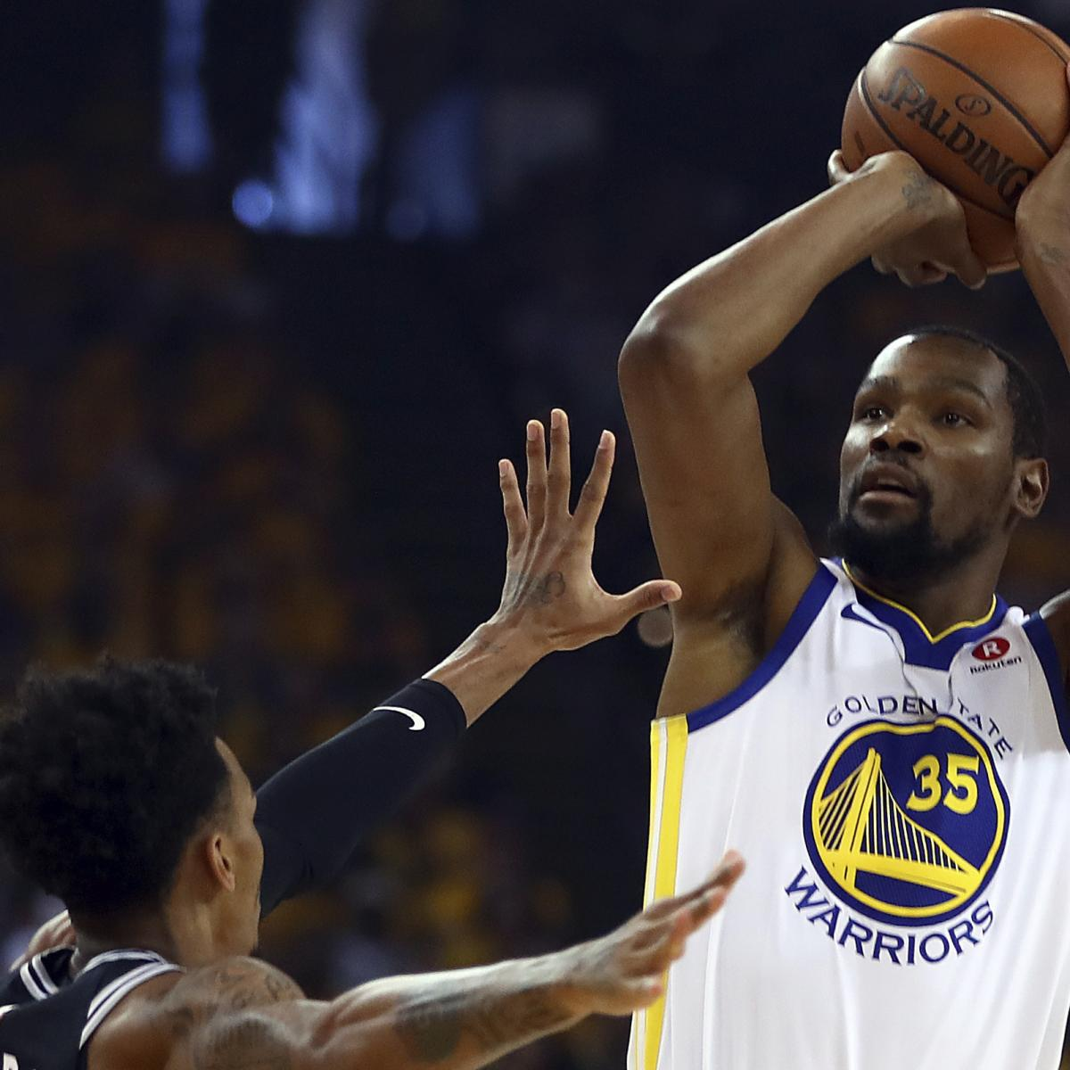 Kevin Durant, Warriors Win Game 1 vs. Spurs; Stephen Curry Out Due to Injury
