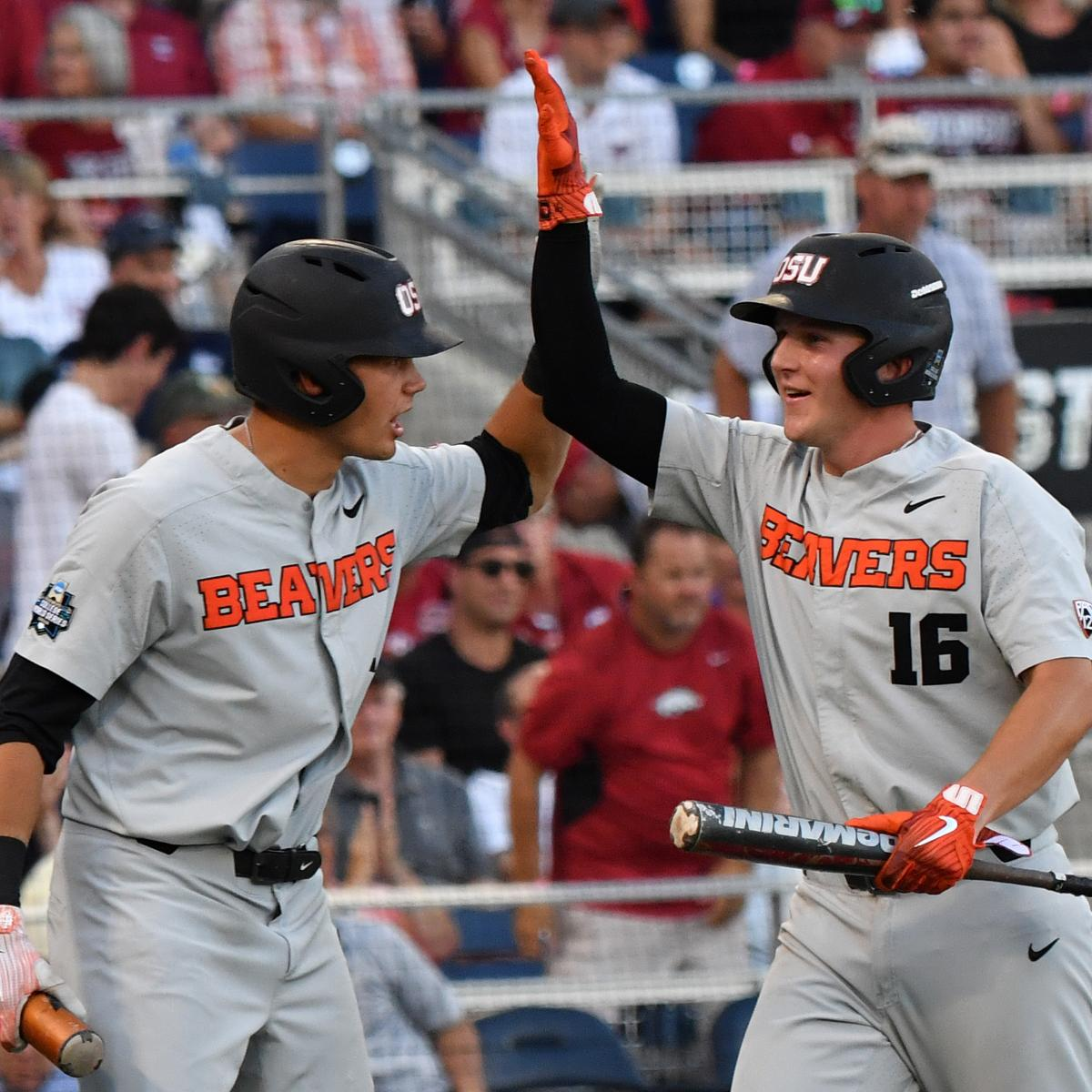 Oregon St. Rallies to Even Series vs. Arkansas in College World Series Game 2