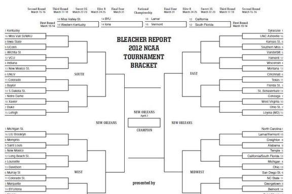 ncaa bracket 2012 predicting the winner of each round of 64 game bleacher report. Black Bedroom Furniture Sets. Home Design Ideas