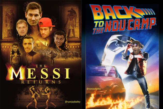 Movie Posters Announcing Lionel Messi's Return to Barcelona