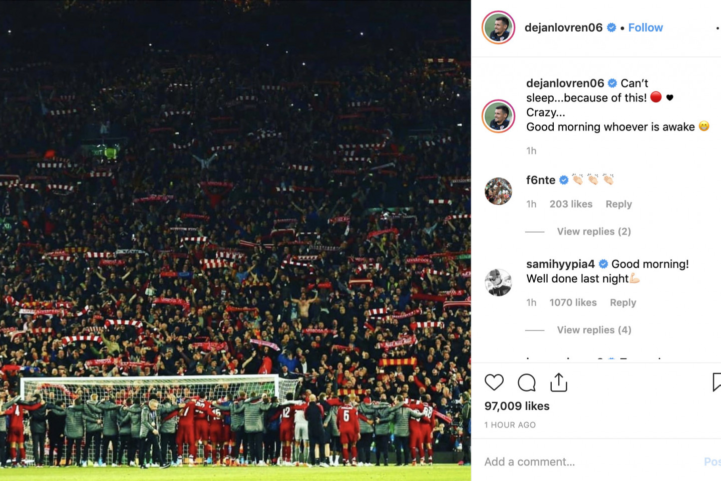 Liverpool Players React To Barca Win