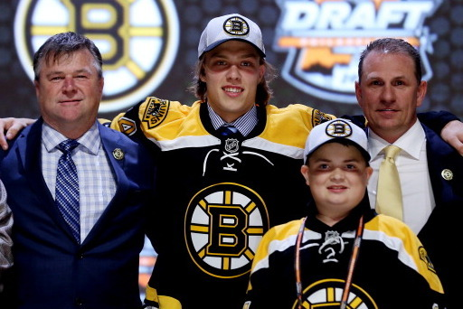 PHILADELPHIA, PA - JUNE 27: David Pastrnak is selected twenty-fifth by the Boston Bruins in the first round of the 2014 NHL Draft at the Wells Fargo Center on June 27, 2014 in Philadelphia, Pennsylvania. (Photo by Bruce Bennett/Getty Images)