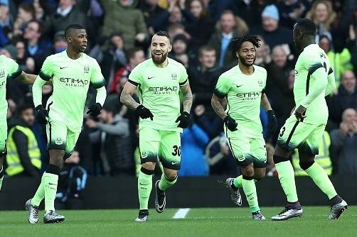 781fed6c1ff Manchester City s Nigerian striker Kelechi Iheanacho (2nd L) celebrates  after scoring his team s first