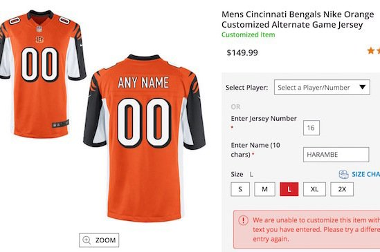 sale retailer 1c8d7 49ec9 NFL Shop Bans Fans from Ordering Customized 'Harambe ...