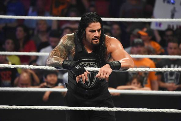 MIAMI, FL- SEPTEMBER 01: Roman Reigns looks on during the WWE Smackdown on September 1, 2015 at the American Airlines Arena in Miami, Florida. (Photo by Ron ElkmanSports Imagery/Getty Images)