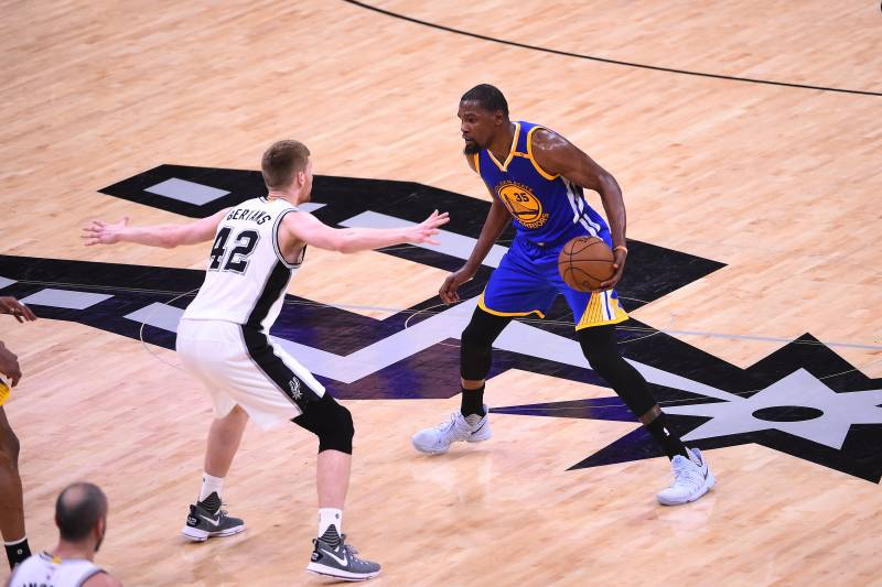 SAN ANTONIO, TX - MAY 20: Kevin Durant #35 of the Golden State Warriors handles the ball against the San Antonio Spurs in Game Three of the Western Conference Finals of the 2017 NBA Playoffs on May 20, 2017 at AT&T Center in San Antonio, Texas. NOTE TO US