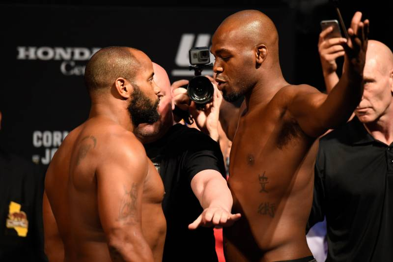 ANAHEIM, CA - JULY 28: (L-R) Daniel Cormier and Jon Jones face off during the UFC 214 weigh-in inside the Honda Center on July 28, 2017 in Anaheim, California. (Photo by Josh Hedges/Zuffa LLC/Zuffa LLC via Getty Images)