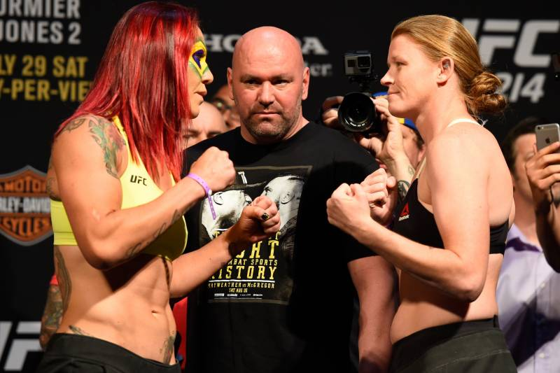 ANAHEIM, CA - JULY 28: (L-R) Cris Cyborg of Brazil and Tonya Evinger face off during the UFC 214 weigh-in inside the Honda Center on July 28, 2017 in Anaheim, California. (Photo by Josh Hedges/Zuffa LLC/Zuffa LLC via Getty Images)