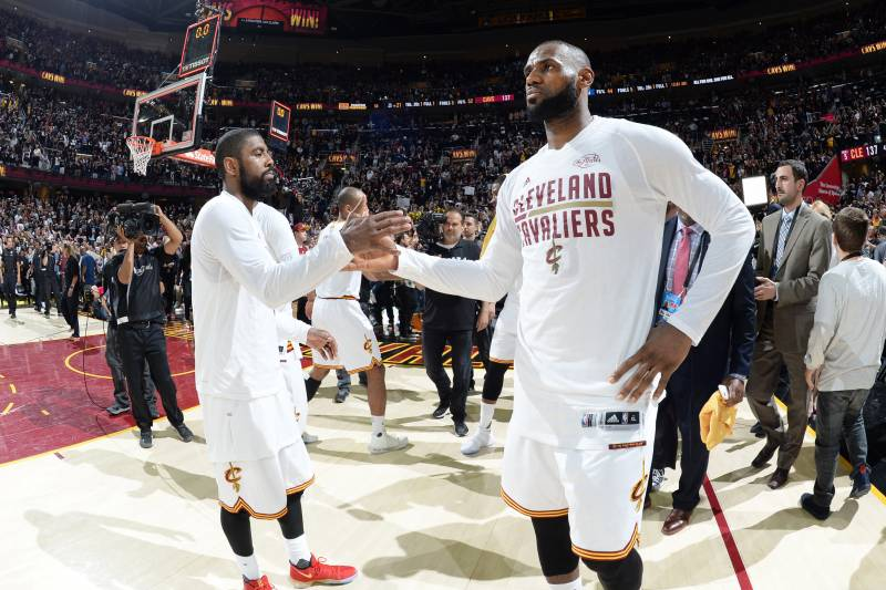 CLEVELAND, OH - JUNE 9: Kyrie Irving #2 and LeBron James #23 of the Cleveland Cavaliers celebrate after Game Four of the 2017 NBA Finals on June 9, 2017 at Quicken Loans Arena in Cleveland, Ohio. NOTE TO USER: User expressly acknowledges and agrees that,