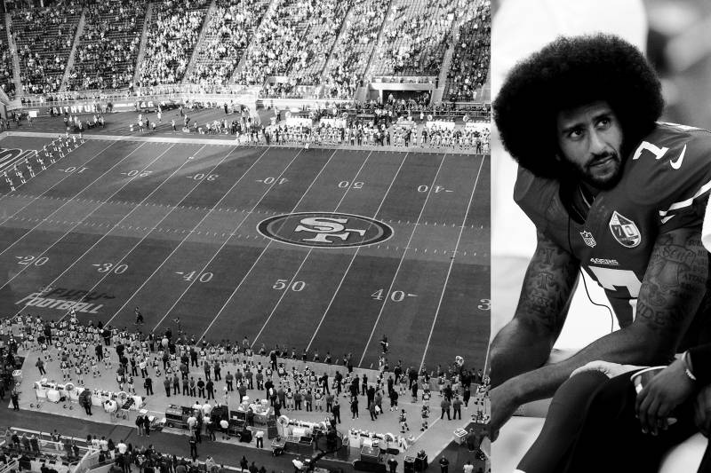 The first time the public noticed Colin sitting, on August 26, 2016, which led to a season of kneeling.