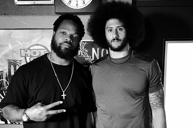 """Colin with Michael Bennett at the Hot 97 studios in June. """"To be able to constantly try to get support from players and the league, it's always a hard thing,"""" Bennett says now. """"I think it's more about trying to create opportunities and create more action and get people out in the communities and try to make change."""""""