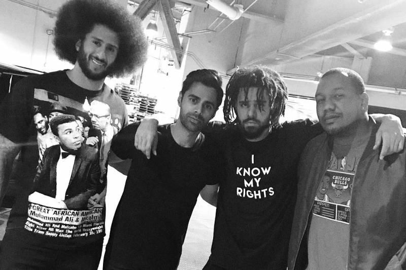 Colin backstage with Travon Free, Hasan Minhaj and J. Cole, whose Dreamville Foundation received a $34,000 pledge on Colin's way to donating $1 million.