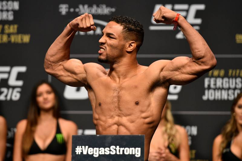 LAS VEGAS, NV - OCTOBER 06: Kevin Lee poses on the scale during the UFC 216 weigh-in inside T-Mobile Arena on October 6, 2017 in Las Vegas, Nevada. (Photo by Jeff Bottari/Zuffa LLC/Zuffa LLC via Getty Images)