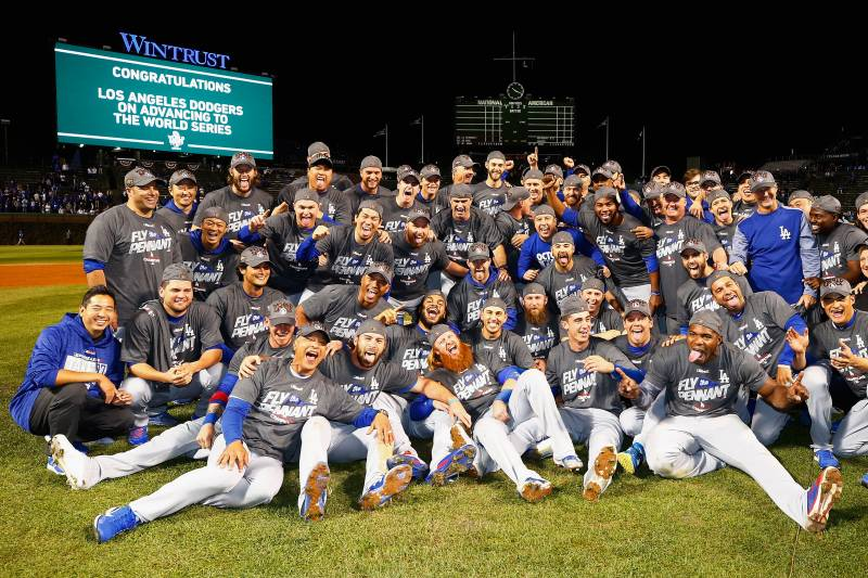 CHICAGO, IL - OCTOBER 19:  The Los Angeles Dodgers pose after defeating the Chicago Cubs 11-1 in game five of the National League Championship Series at Wrigley Field on October 19, 2017 in Chicago, Illinois. The Dodgers advance to the 2017 World Series.