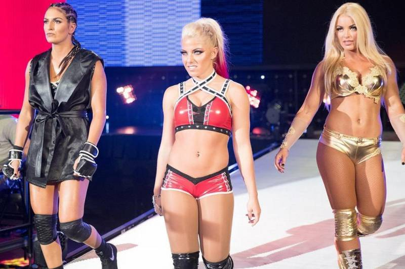 Sonya Deville, Alexa Bliss and Mandy Rose head to the ring on NXT in 2016.