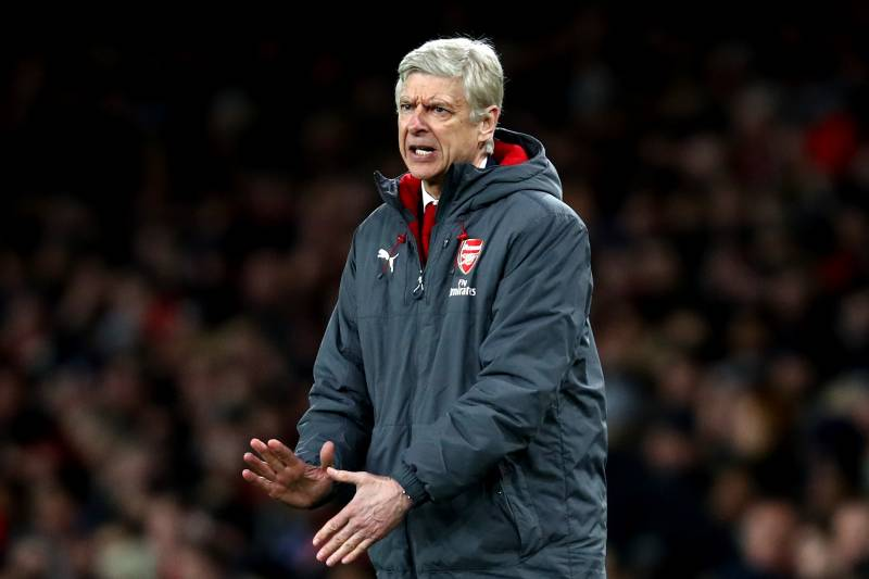 94a24663 LONDON, ENGLAND - JANUARY 24: Arsene Wenger, Manager of Arsenal reacts  during the