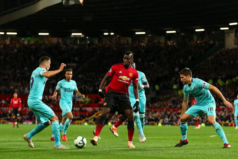MANCHESTER, ENGLAND - OCTOBER 06: Paul Pogba of Manchester United during the Premier League match between Manchester United and Newcastle United at Old Trafford on October 6, 2018 in Manchester, United Kingdom. (Photo by Robbie Jay Barratt - AMA/Getty Ima