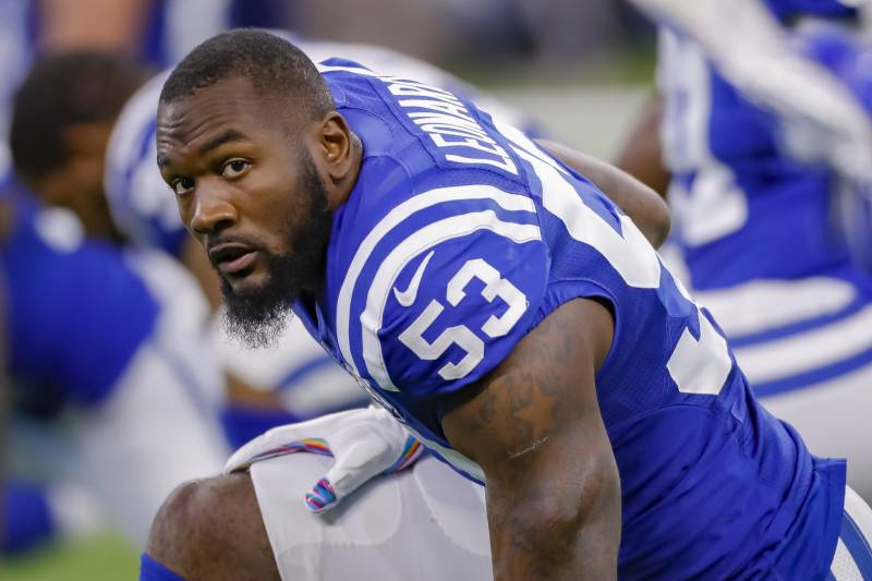INDIANAPOLIS, IN - OCTOBER 21: Darius Leonard #53 of the Indianapolis Colts is seen before the game against the Buffalo Bills at Lucas Oil Stadium on October 21, 2018 in Indianapolis, Indiana. (Photo by Michael Hickey/Getty Images)