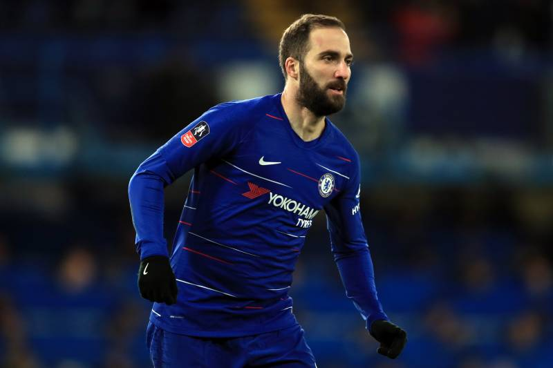 LONDON, ENGLAND - JANUARY 27: Gonzalo Higuain of Chelsea during the FA Cup Fourth Round match between Chelsea and Sheffield Wednesday  at Stamford Bridge on January 27, 2019 in London, United Kingdom. (Photo by Marc Atkins/Getty Images)