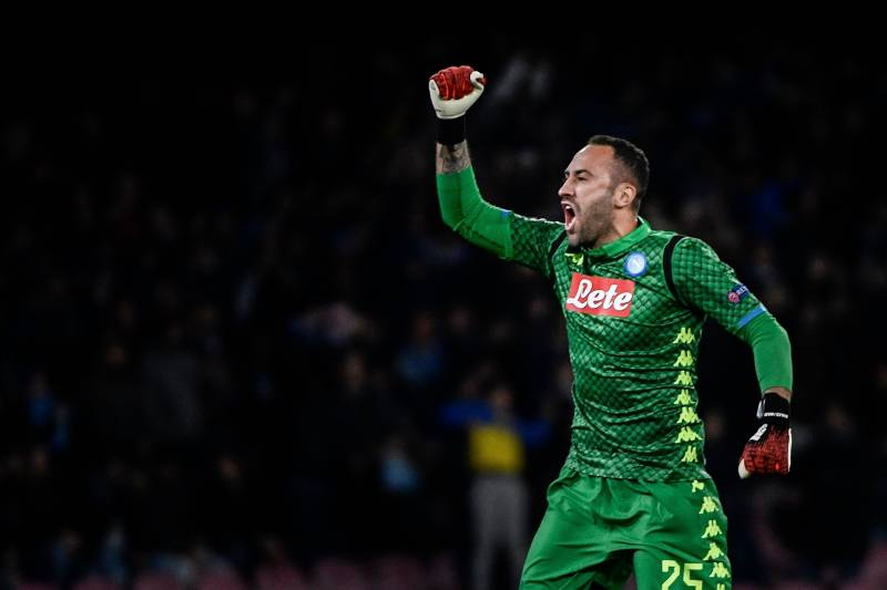 53674ebcc Napoli s Colombian goalkeeper David Ospina celebrates after his team opened  the scoring during the UEFA Champions