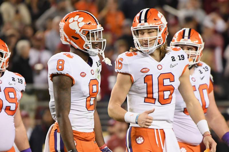 SANTA CLARA, CA - JANUARY 07:  Justyn Ross #8 and Trevor Lawrence #16 of the Clemson Tigers react against the Alabama Crimson Tide in the CFP National Championship presented by AT&T at Levi's Stadium on January 7, 2019 in Santa Clara, California.  (Photo