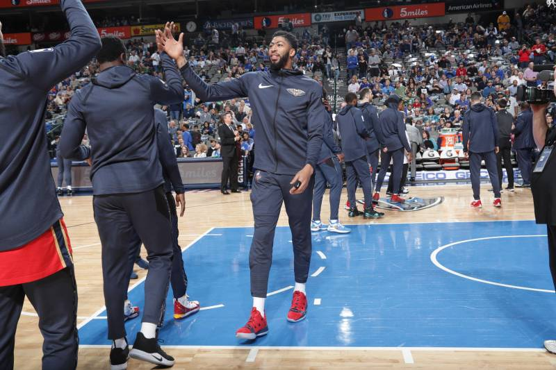 DALLAS, TX - MARCH 18: Anthony Davis #23 of the New Orleans Pelicans walks onto court before the game against the Dallas Mavericks on March 18, 2019 at the American Airlines Center in Dallas, Texas. NOTE TO USER: User expressly acknowledges and agrees tha