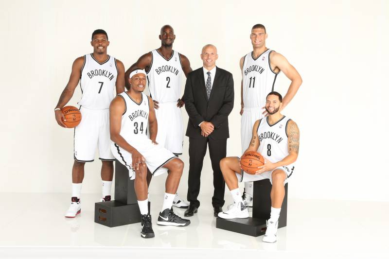 BROOKLYN, NY - SEPTEMBER 30: (L-R) Joe Johnson #7, Paul Pierce #34, Kevin Garnett #2, Head Coach Jason Kidd, Brook Lopez #11, and Deron Williams #8 of the Brooklyn Nets pose for a portrait during Media Day at the Barclays Center in Brooklyn, NY. NOTE TO U