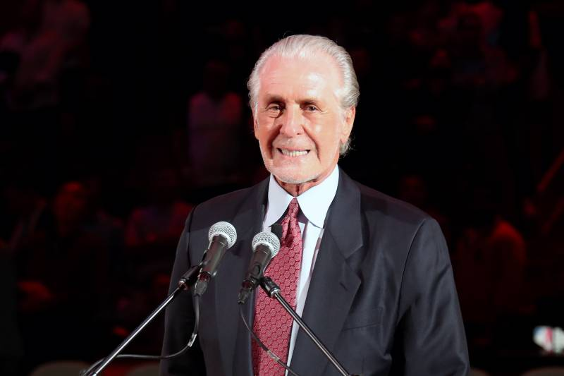 MIAMI, FL - MARCH 26: Pat Riley, President of the Miami Heat, addresses the crowd during the jersey retirement ceremony for Chris Bosh at halftime of the game against the Orlando Magic on March 26, 2019 at American Airlines Arena in Miami, Florida. NOTE T