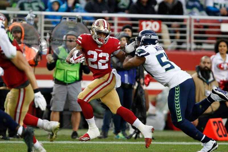 In his first season as a starter, Matt Breida accumulated 1,075 yards of offense from scrimmage and scored five touchdowns.